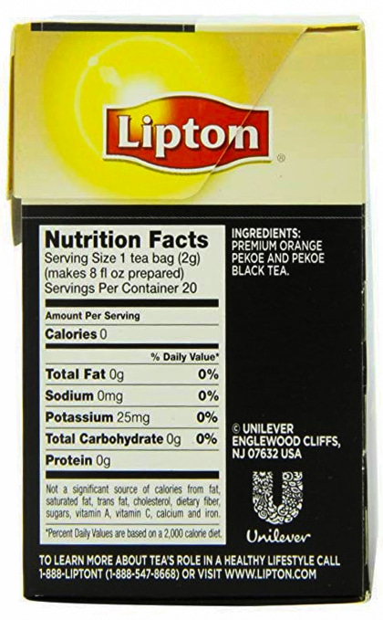 Lipton black tea ingredients & nutrition facts